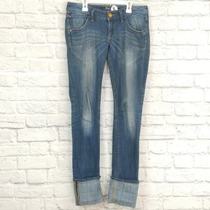 Express | Cuffed Skinny Jeans Fade Pattern Front